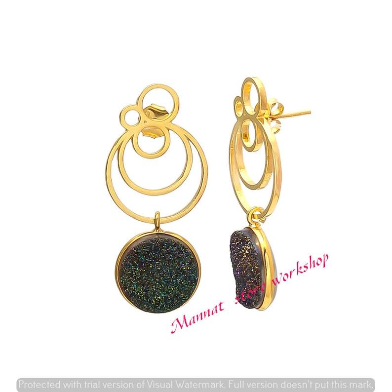 Green Druzy Gemstone Gold Drop Earrings