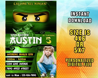 Ninjago Invitation,Ninjago Birthday,Ninjago Party,Ninjago Birthday Party,Ninjago Party Invitation,Ninjago Invites,Ninjago Invite,Card F0214