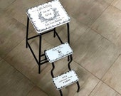 French wooden stool. White step ladder. Accent chair