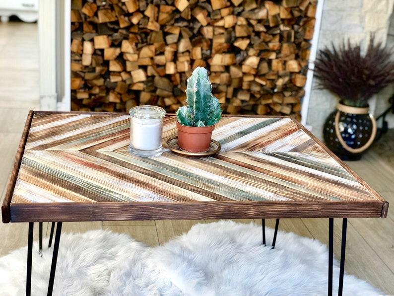 Wood Coffee Table Side Table Rustic Coffee Table Metal Etsy
