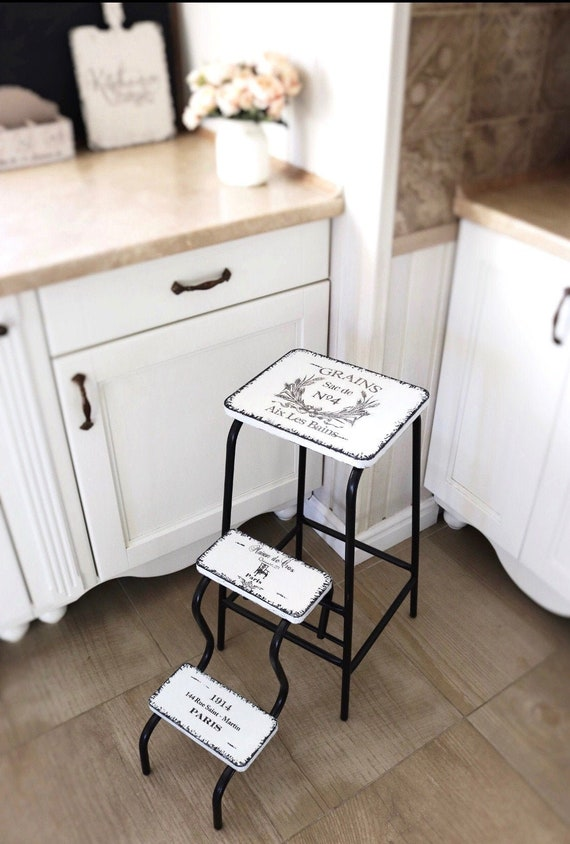 Step Stool Chair Decorative Ladder Helper Tower Bed Side Etsy