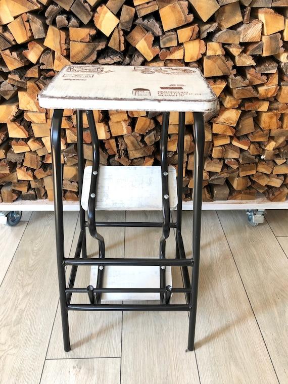 Kitchen Island Plant Stand Blanket Ladder Bed side table Step stool adult Bar Stool Farmhouse Ladder Industrial Stool Step ladder