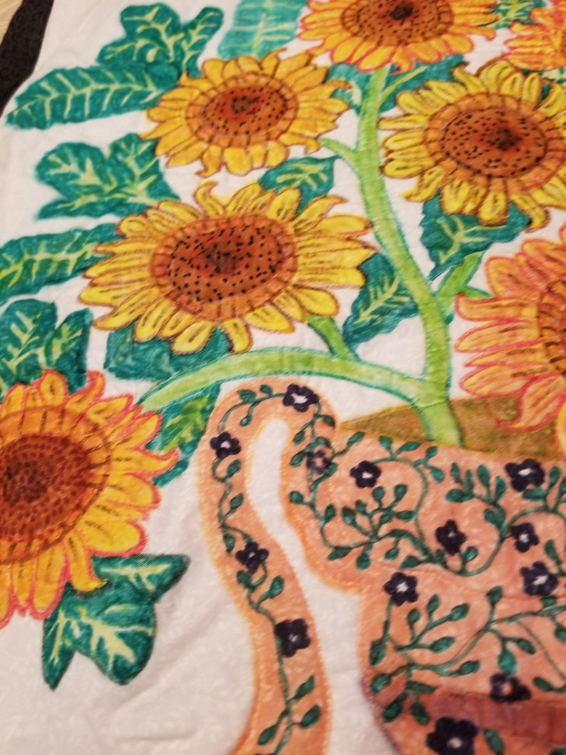 Perfect gift for Mom Table Runners Wall Art Look great in an Entryway 2 Different Sunflower Designs Reversible-Sunflowers Wall Hanging