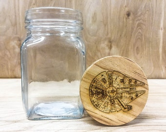 Star Wars Millenium Falcon- Stash Glass Jar with Wood Top - 7.5fl oz