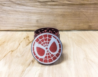 Marvel Spiderman Red Custom Engraved Spice Herb Grinder - 40mm  4 Pieces