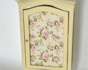 Dollhouse miniature hand painted armoire wardrobe, cream with rose decoupage, dollhouse bedroom, twelfth scale, shabby chic, french country