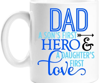 Dad is my Hero mug perfect for fathers day gift can be personalised free