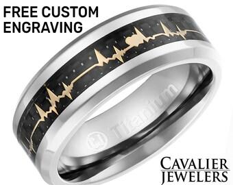 5c495caedf Mens Titanium Wedding Band, Titanium Ring, Wedding Ring, Mens Wedding Band,  Ring for Men, Women, 8MM Wide, Heartbeat, FREE Engraving