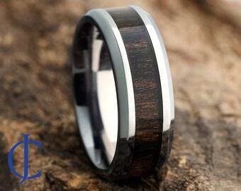 Mens Titanium Wood Wedding Band, Titanium Ring, Wedding Ring, Mens Wedding Band, Ring for Men, Women, 8MM Wide, Comfort Fit, Engraving