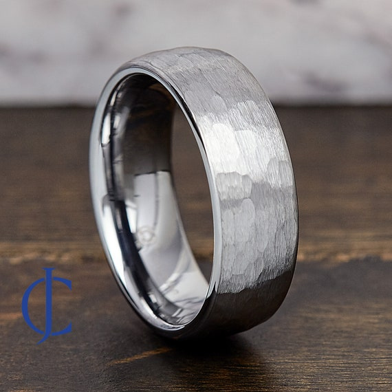 Tungsten Wedding Band Ring,Two Tone Hammered Tungsten Ring,Promise Ring Tungsten Wedding Ring,Wedding Band Ring Comfort Fit FREE ENGRAVING