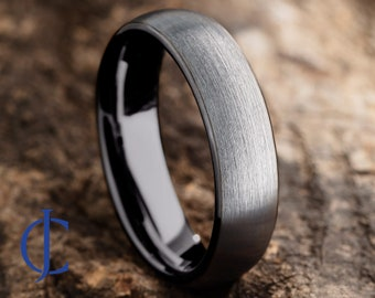 Mens Tungsten Wedding Band, Tungsten Ring Brushed Silver, Mens Wedding Band Black 6mm wide, Promise Ring, Rings for Men, Rings for Women