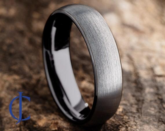 Custom Engraved Tungsten Tungsten Ring Tungsten Band Black  Silver Tungsten Ring Mens Tungsten Wedding Ring 6mm Gunmetal Tungsten Ring