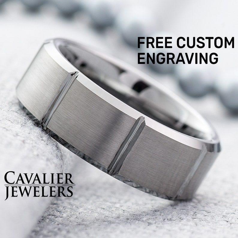 Mens Ring Silver Ring Tungsten Ring Engraved Ring Tungsten Wedding Band Men Personalized Ring Wedding Ring Mens Wedding Band 8mm