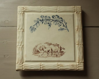 """Ironstone sous plat/ceramic coaster by J S & Cie  """"Chasse"""""""