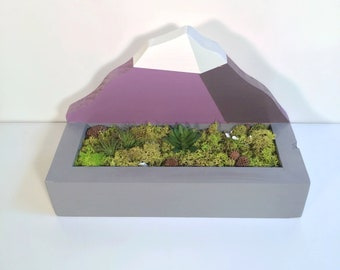 Mount Fuji Wooden Desk Plant Landscape pot art with Preserved Moss and Plants