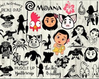 Moana SVG Bundle, Maui SVG Bundle, Moana cut file, Moana clipart, Moana svg files for silhouette, files for cricut, svg, dxf, eps, png, scal
