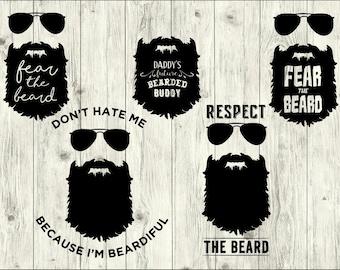 Beard SVG Bundle, Mustache SVG bundle, Beard cut file, Beard clipart, Beard svg files for silhouette, files for cricut, svg, dxf, eps, png