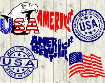 4th of July SVG Bundle, America SVG Bundle, America cut file, usa clipart, us svg files for silhouette, files for cricut, svg, dxf, eps, png