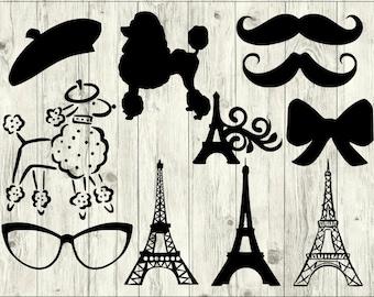 Paris SVG Bundle, France SVG bundle, Paris cut file, Paris clipart, Paris svg files for silhouette, files for cricut, svg, dxf, eps, png