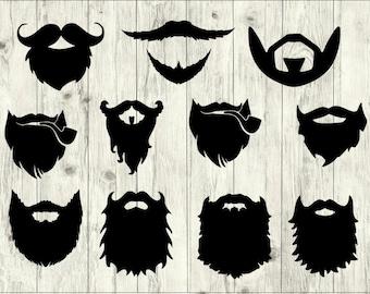 Beard SVG Bundle, Hipster SVG bundle, Beard cut file, Beard clipart, Beard svg files for silhouette, files for cricut, svg, dxf, eps, png