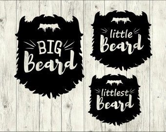 Big Beard SVG Bundle, Little Beard SVG bundle, Beard cut file, Beard clipart, svg files for silhouette, files for cricut, svg, dxf, eps, png