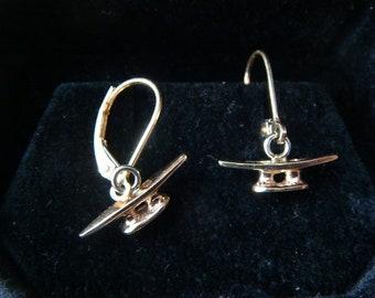 Dock cleat earrings solid 14k gold