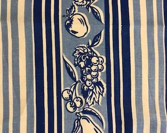 fe47d830 Mid Century Fruit Stripe Linen Tea Towel Apples Grapes Pears Cherries Navy  Blue