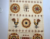 Pennsylvania Dutch Linen Tea Towel Folk Art Hex Sign Barn Weathervane Tulips Roosters Trees with Tag