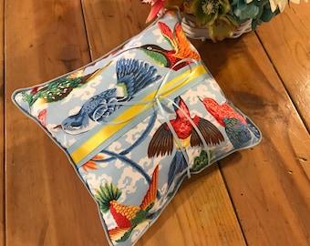 Wedding Ring Bearer Pillow Tropical Birds Boho Alternative Blue Rainbow