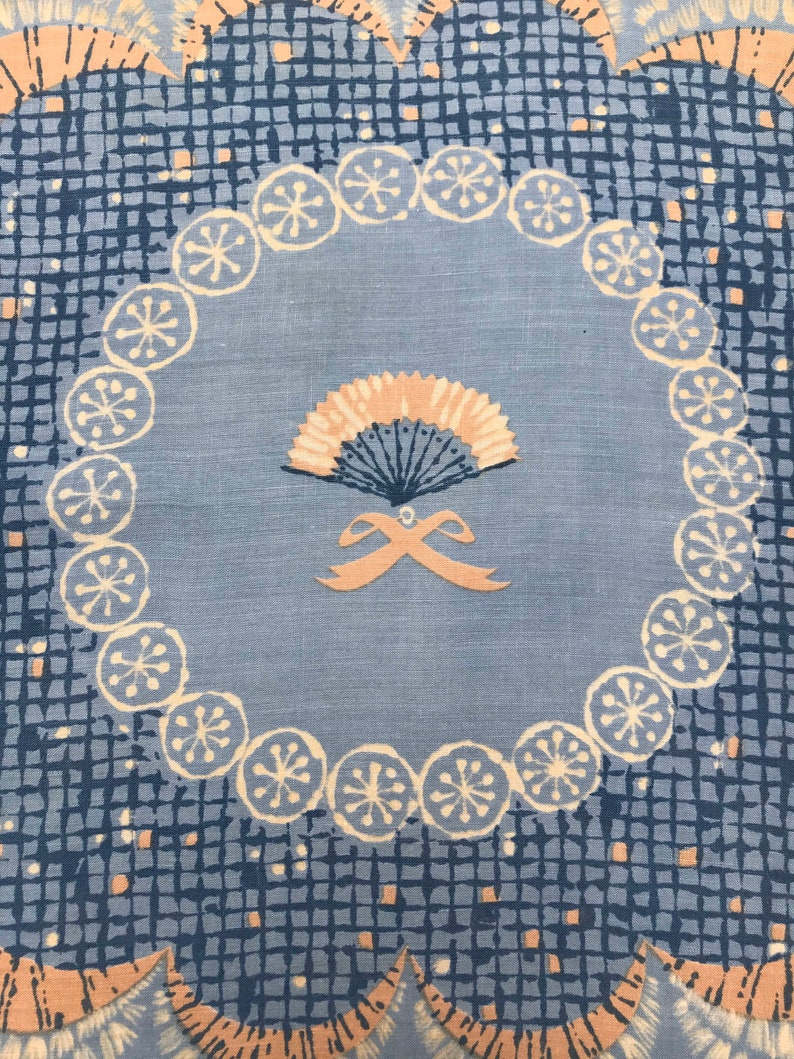 Peg Thomas Handkerchief with Fan Ribbon Scallop Border Tammis Keefe Blue Peach