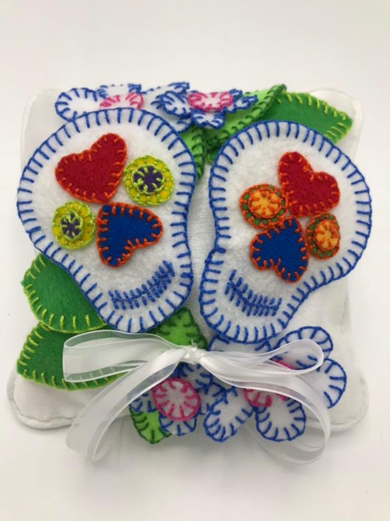 Day of the Dead Dia de los Muertos Wedding Ring Bearer Pillow Mexican Boho Alternative White