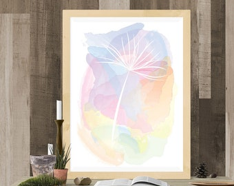 Digital Watercolour Print - Dandelion Seed