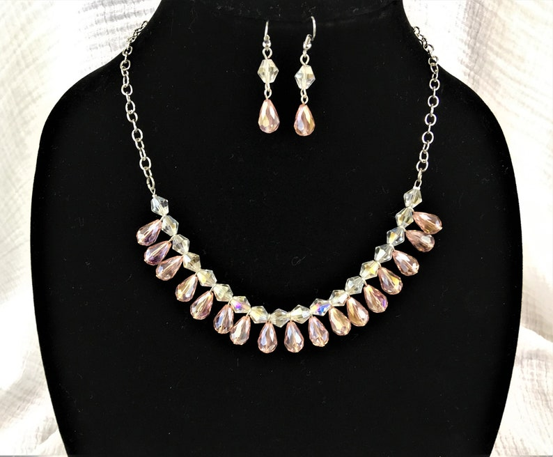 Pink Tear Drop Necklace and Earring Set Beaded Jewelry Set Pink Beaded Necklace Handmade Beaded Jewelry Pink Necklace Earring Set