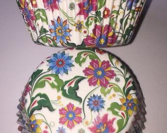 Flower Florals Vintage Style Cupcake Cases