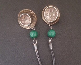 Handmade Silver and Brass Oxidized Beautiful Jade Gemstone Cabochon Modern Minimalist Earrings