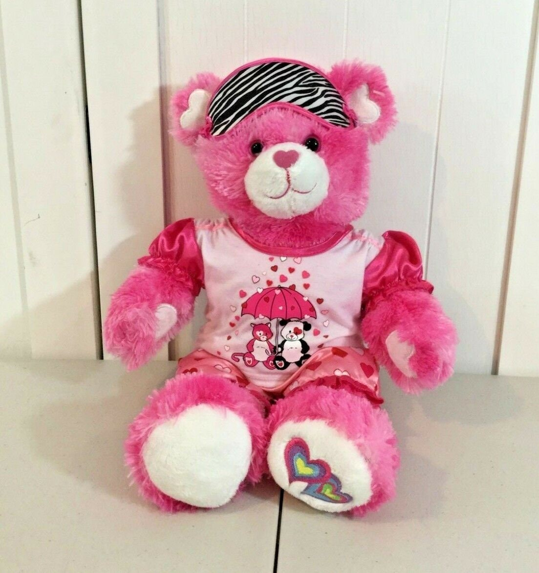 2cb636e1234 Build a bear pink bear with heart paws ears nose wearing etsy jpg 1103x1173 Pink  bear