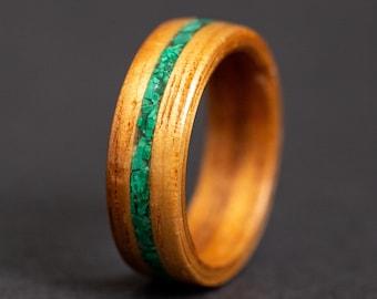 Koa Wood Ring, couples rings, couples ring sets, Malachite Inlay