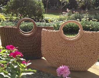 Handwoven straw bag, straw handbag, straw beach bag, summer bag, gift, gift for her