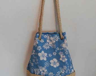 Beach bag, straw and canvas bag, straw bag, straw beach bag, gift, gift for her