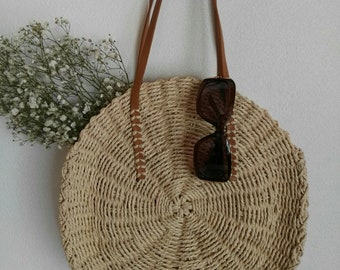 Round straw bag, handmade, straw beach bag, straw shoulderbag, straw handbag, gift, gift for her