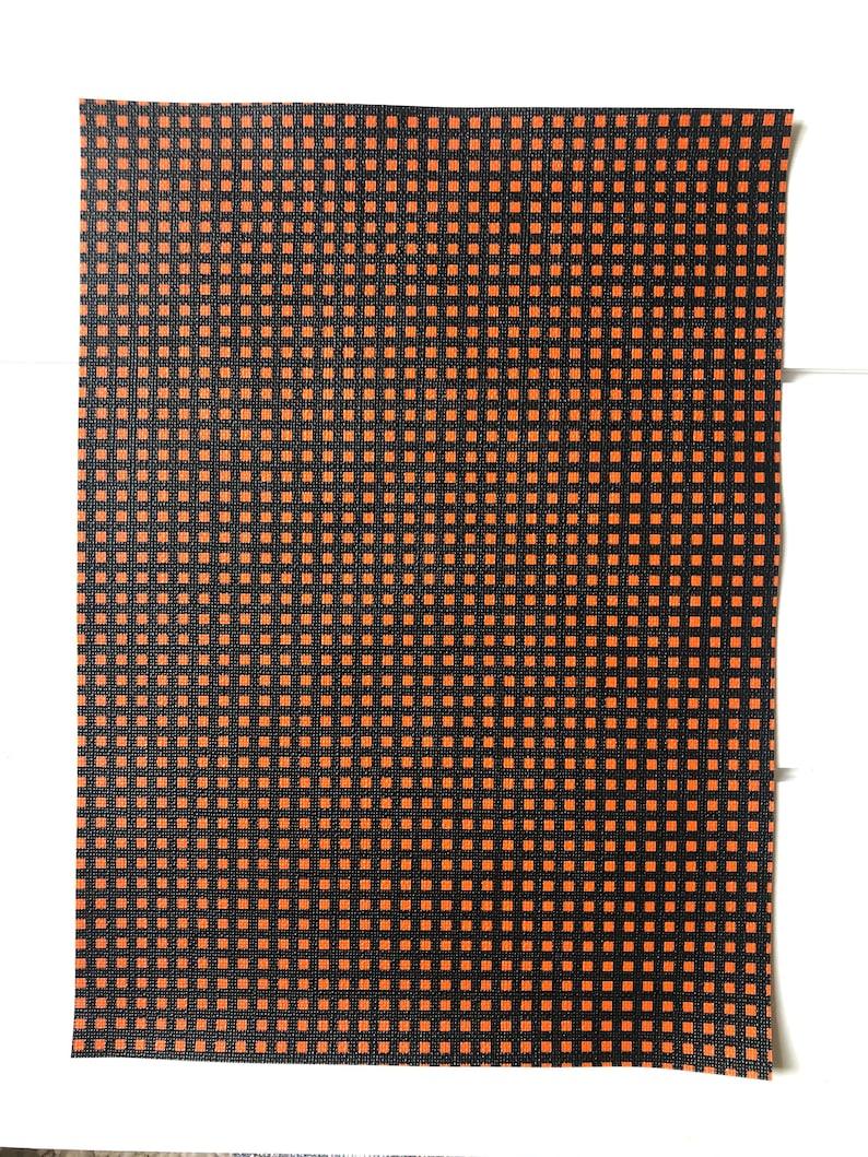 Faux Leather Fabric Orange and Black Mini Grid Faux Leather Sheet Plaid Printed Faux Leather