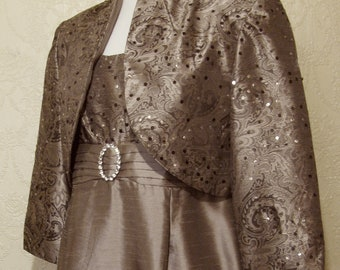 Sequins & Rhinestones Dark TAUPE DAMASK TEXTURED Satin Gown size 12 Mother Of The Bride Dress with Matching Jacket