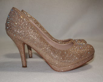 69b59a1cc ROSE Gold SPARKLE AB Crystal rhinestone embellished heels size 7