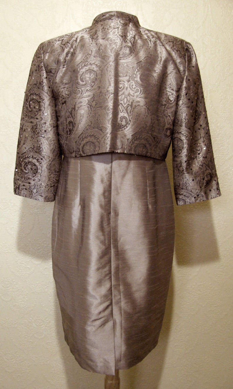 Sequins /& Rhinestones Dark TAUPE DAMASK TEXTURED Satin Gown size 12 Mother Of The Bride Dress with Matching Jacket