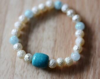 Shimmery Blue and Cream Bracelet