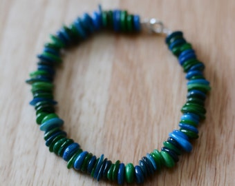 Blue Green Glass Bead Bracelet