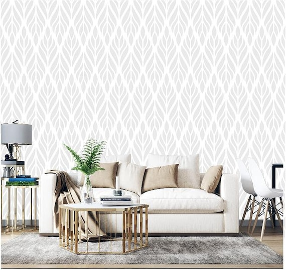 Peel And Stick Wallpaper In An Ethnic Gray And White Print Etsy