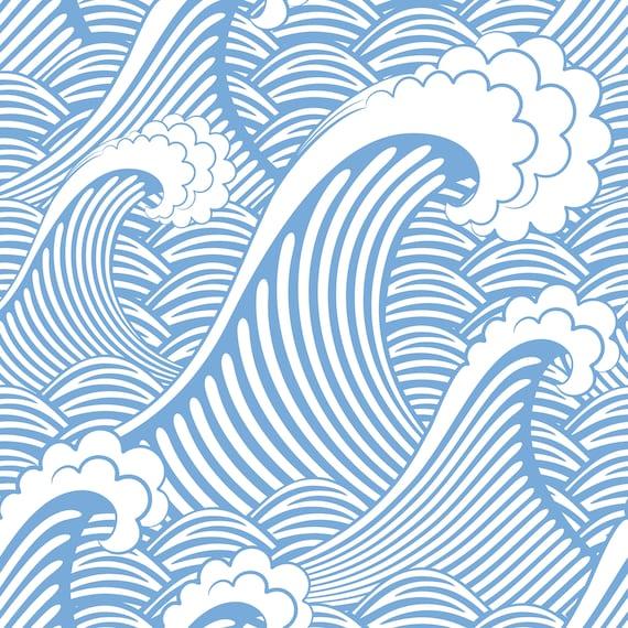 . Japanese Waves Wallpaper  Peel   Stick wallpaper  removable wallpaper   modern wallpaper  beach wallpaper  ocean wallpaper  waves wallpaper