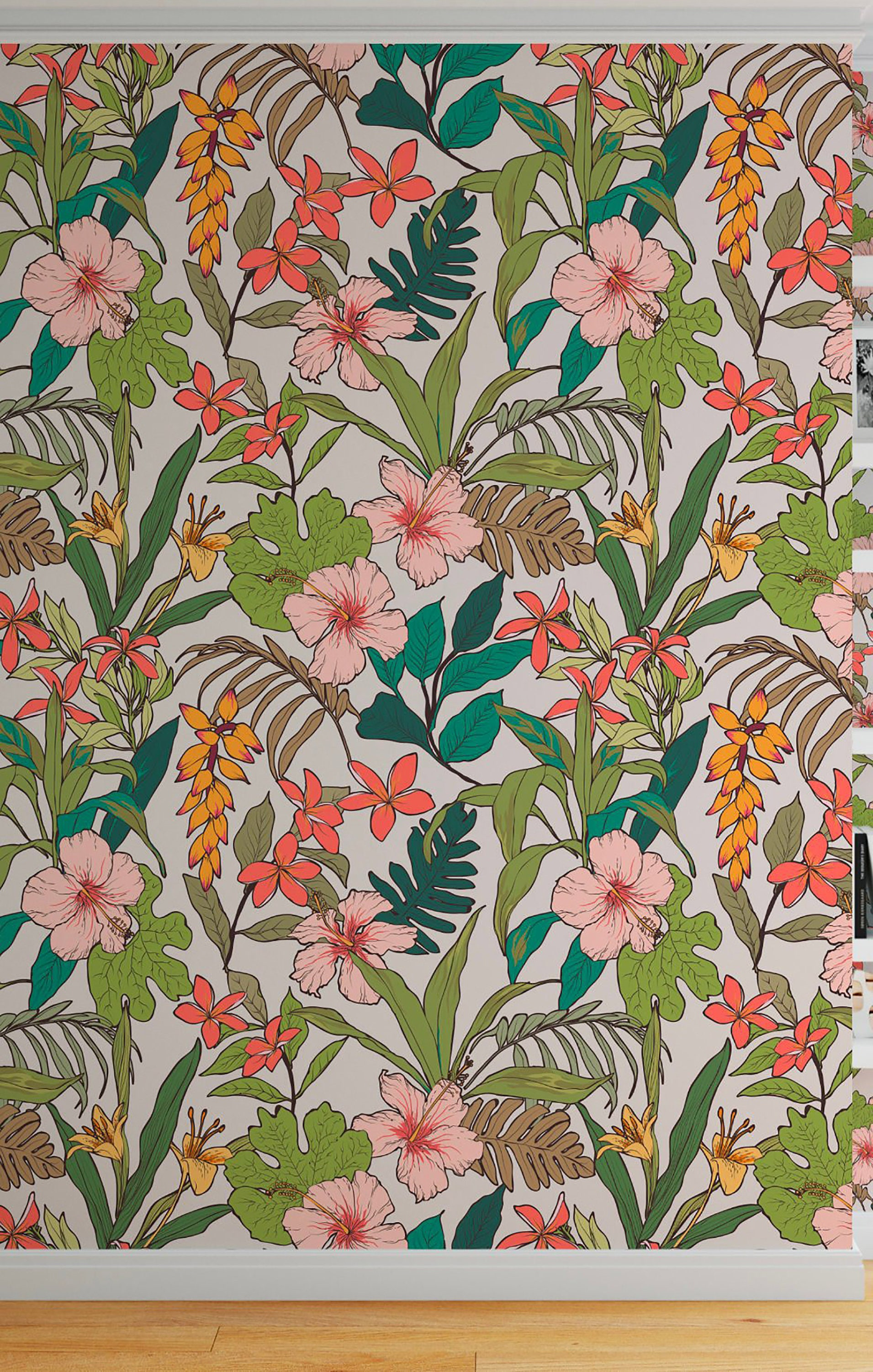Floral Tropical Wallpaper Peel And Stick Wallpaper Banana Etsy