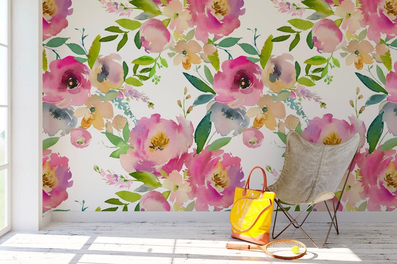 Watercolor Spring Wallpaper Flowers Large Bunches Floral Wallpaper Peel And Stick Wallpaper Reusable Wallpaper Removable Wallpaper